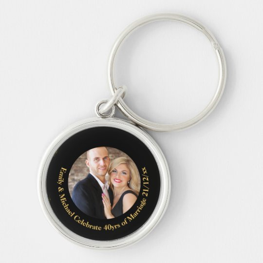 40th PHOTO Wedding Anniversary Black Gold Marble Keychain