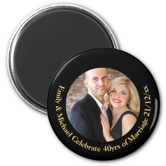 40th PHOTO Wedding Anniversary Black Gold Marble Magnet