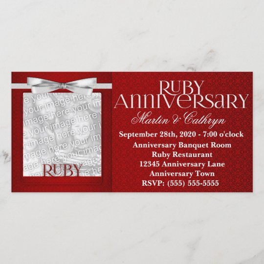40th Ruby Anniversary Invitation Photo Card Zazzle Ca