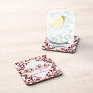 40th Ruby Anniversary Personalized Swirls Beverage Coasters