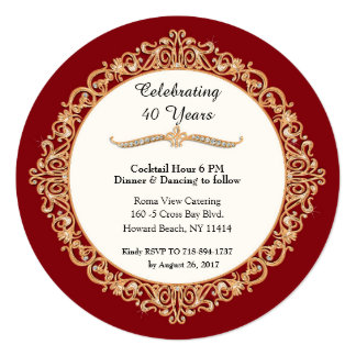 40th Ruby Wedding Anniversary Celebration Round Card