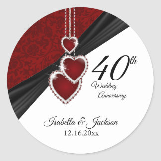 40th Ruby Wedding Anniversary Classic Round Sticker