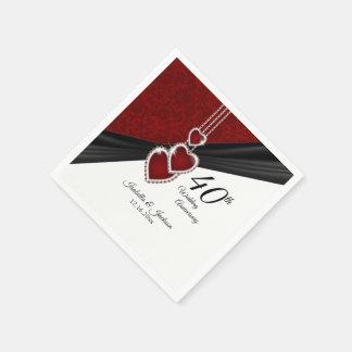 40th Ruby Wedding Anniversary Disposable Napkin