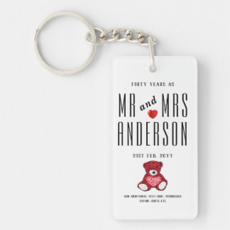 40th RUBY Wedding Anniversary Gift Personalized Keychain
