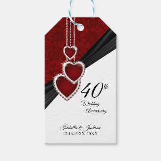 40th Ruby Wedding Anniversary Gift Tags