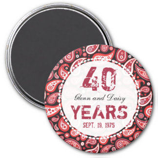 40th Ruby Wedding Anniversary Paisley Pattern 3 Inch Round Magnet