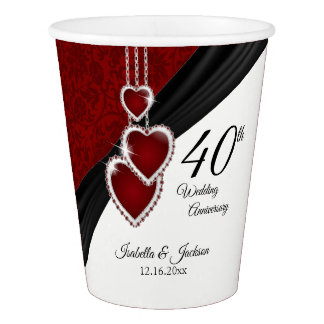 40th Ruby Wedding Anniversary Paper Cup