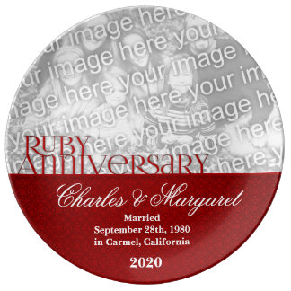 40th Ruby Wedding Anniversary Photo Porcelain Plate