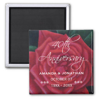 40th Ruby Wedding Anniversary Red Rose Square Magnet