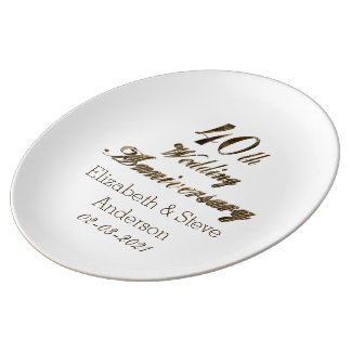 40th Ruby Wedding Anniversary Typography Elegant Porcelain Plates