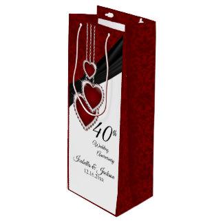 40th Ruby Wedding Anniversary - Wine Wine Gift Bag