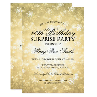 40th Surprise Birthday Gold Winter Wonderland Card
