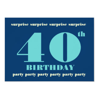 40th SURPRISE Birthday Party Invitation - Blue