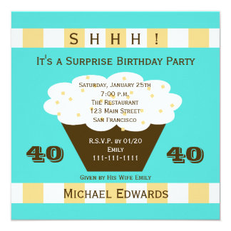 40th Surprise Birthday Party Invitation Cupcake