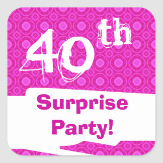 40th Surprise Birthday Party Pink Pattern Template Square Sticker