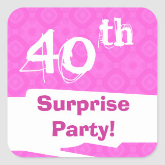 40th Surprise Birthday Pink Save the Date Set Square Sticker