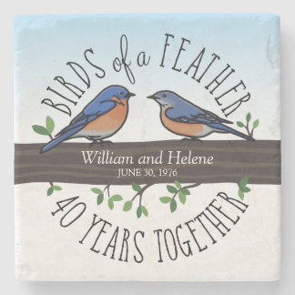 40th Wedding Anniversary, Bluebirds of a Feather Stone Coaster