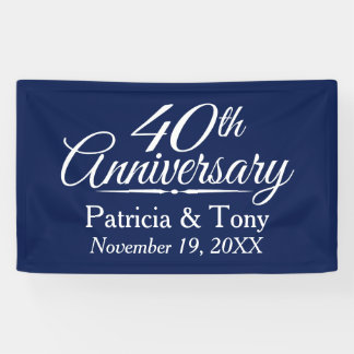 40th Wedding Anniversary - CAN EDIT COLOR custom Banner