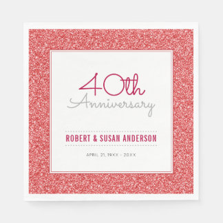 40th Wedding Anniversary Faux Red Glitter Disposable Napkins