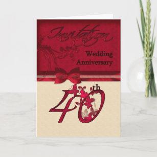 40th Wedding Anniversary Invitation Card