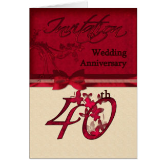 40th Wedding Anniversary Invitation Card