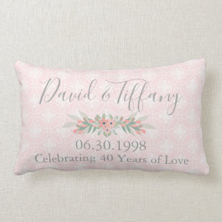 40th Wedding Anniversary Pink and Silver Lumbar Pillow