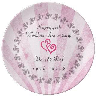40th wedding anniversary Pink Sunrays Porcelain Plate