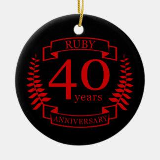 40th Wedding ANNIVERSARY RUBY Ceramic Ornament