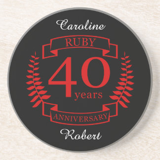 40th Wedding ANNIVERSARY RUBY Coaster