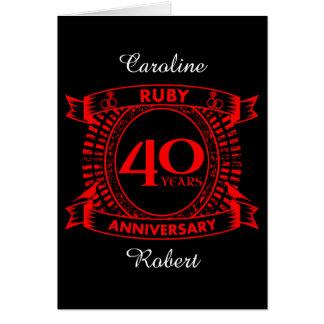 40th wedding anniversary ruby crest card
