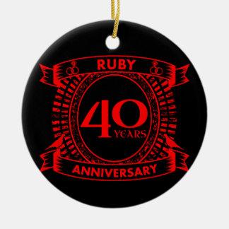 40th wedding anniversary ruby crest ceramic ornament