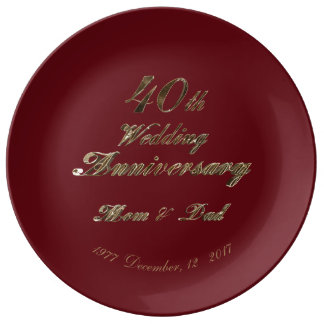 40th Wedding Anniversary Ruby Gold Typography Porcelain Plate