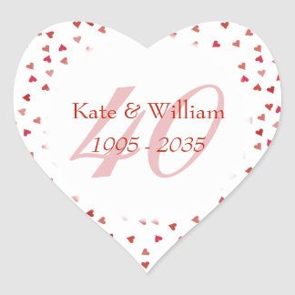 40th Wedding Anniversary Ruby Hearts Confetti Heart Sticker
