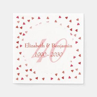 40th Wedding Anniversary Ruby Hearts Confetti Paper Napkin