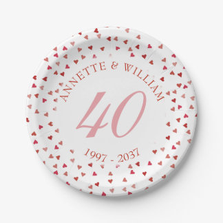 40th Wedding Anniversary Ruby Hearts Confetti Paper Plate