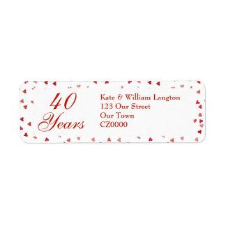 40th Wedding Anniversary Ruby Hearts Confetti Return Address Label