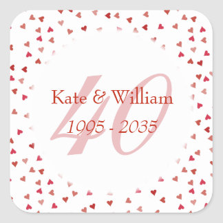 40th Wedding Anniversary Ruby Hearts Confetti Square Sticker