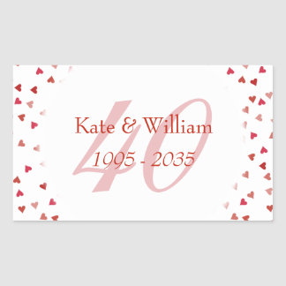 40th Wedding Anniversary Ruby Hearts Confetti Sticker