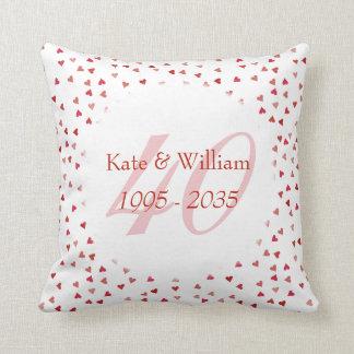 40th Wedding Anniversary Ruby Hearts Confetti Throw Pillow