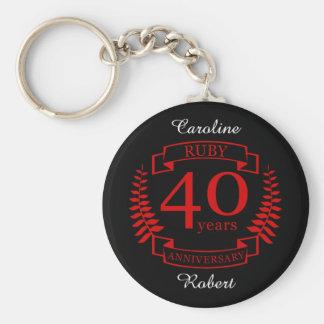 40th Wedding ANNIVERSARY RUBY Keychain