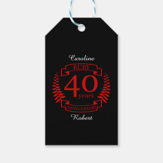 40th Wedding ANNIVERSARY RUBY Pack Of Gift Tags