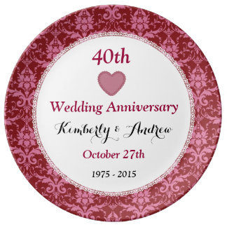 40th Wedding Anniversary Ruby Red Damask W40A Porcelain Plates