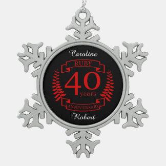40th Wedding ANNIVERSARY RUBY Snowflake Pewter Christmas Ornament