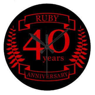 40th Wedding ANNIVERSARY RUBY Wall Clocks