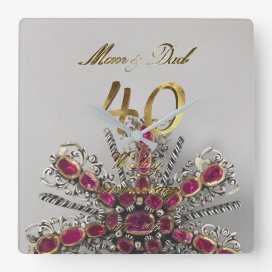 40th Wedding Anniversary Ruby Wedding Parents Square Wall Clock