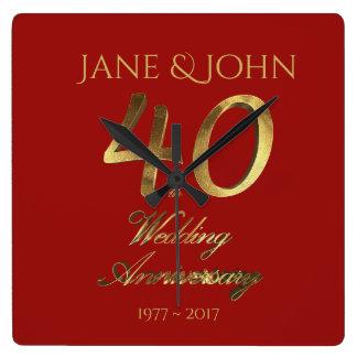 40th Wedding Anniversary Ruby Wedding Red Gold Square Wall Clock