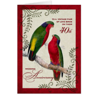 40th Wedding Anniversary Vintage Lorikeet Parrots Greeting Card