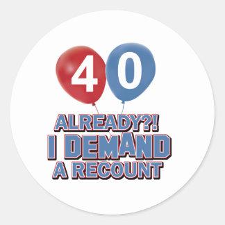 40th year old birthday designs classic round sticker