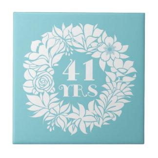 41st Anniversary White Floral Wreath Keepsake Gift Tile