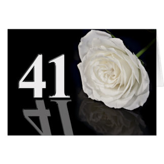 41st Birthday Card with a classic white rose